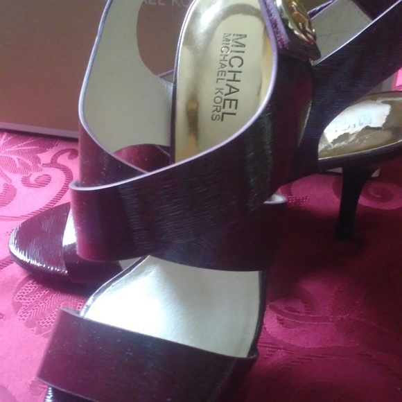 Michael Kors Shoes - MK Patent Merlot Open Toe Joselle